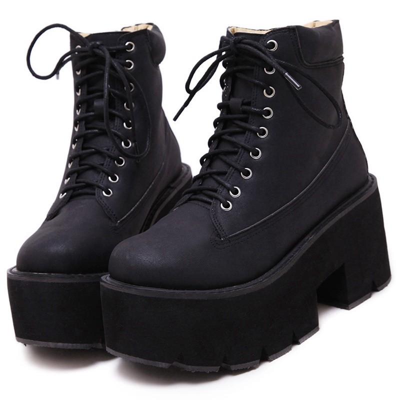 Black Thick Sole Lace Up Ankle Punk