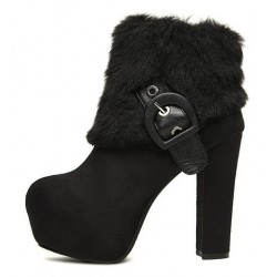 Black Ankle Fur Buckle Platforms High Heels Boots