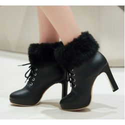Black Ankle Fur Lace Up Platforms High Heels Boots Bootie
