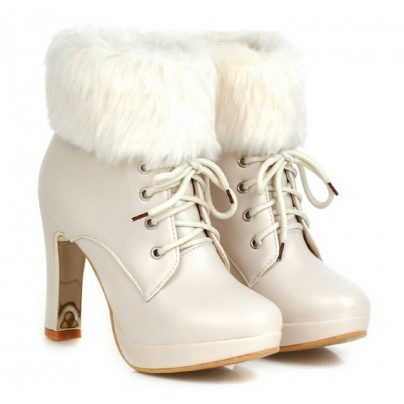 White Ankle Fur Lace Up Platforms High