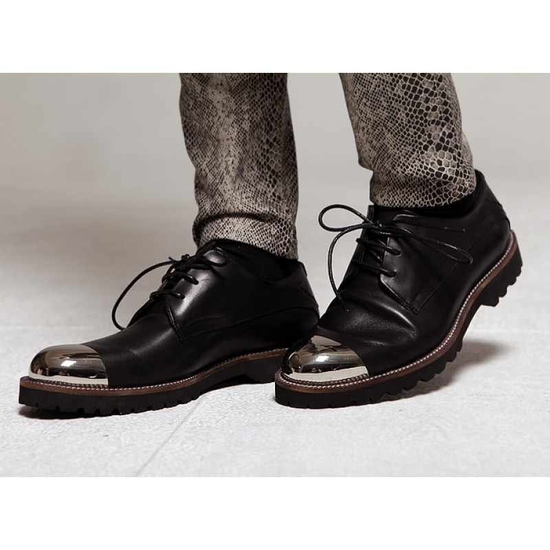 48d1d97699c Black Metal Cap Punk Rock Leather Lace Up Mens Oxfords Dress Shoes