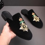 Black Embroidered Crown Mens Formal Slip On Flats Sandals Loafers