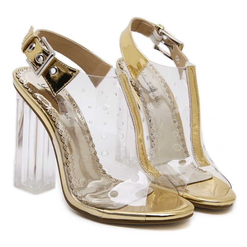 460f6f15c Transparent Gold Slingback PU Peep Toe Glass High Heels Shoes
