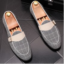 Black White Cream Houndstooth Loafers Dress Dapper Man Shoes Flats
