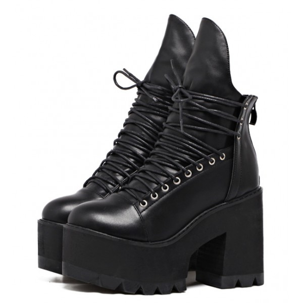 Black High Top Lace Up Platforms Punk Rock Chunky Heels Boots Shoes