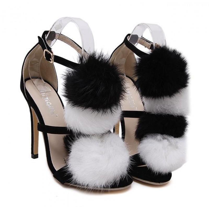 Heels Black Stiletto Pom Fur Suede White High Sandals Pumps wO0PXN8nk