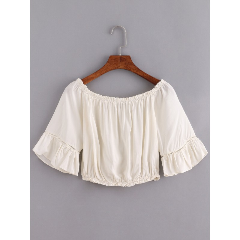 bbb086167bfb2 Beige Off Shoulder Ruffle Bell Sleeves Bohemian Top Blouse