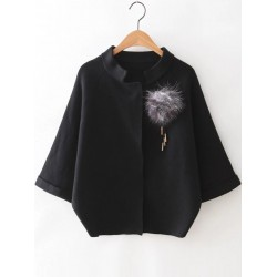 Black Loose Batwing Sleeves Sweater Coat