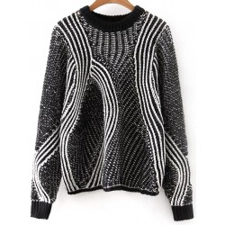 Black White Mixed Knit Loose Knitwear Sweater