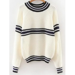 White Black Stripes Lines Long Sleeves Sweater