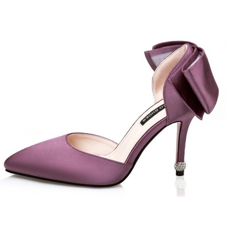Purple Wedding Heel.Purple Satin Back Giant Bow Diamonte Bridal Point Head High Stiletto Heels Shoes