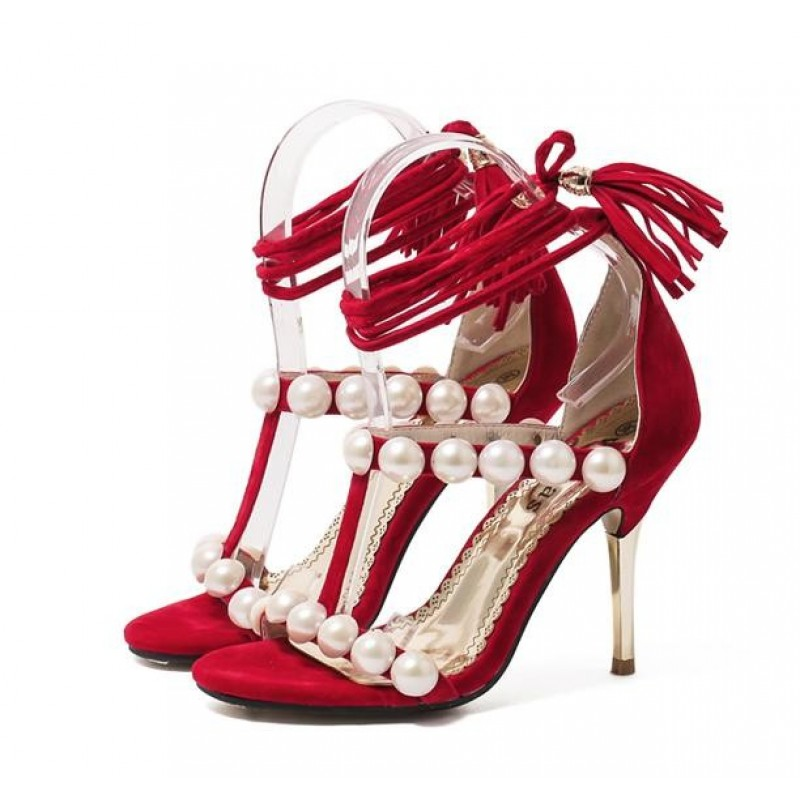 red and black sandal heels