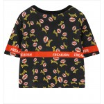Black Freakish Mustache Man Harajuku Funky Cropped Short Sleeves Tops T Shirt
