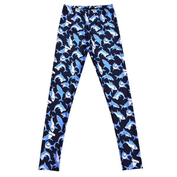 Black Blue Shark Yoga Fitness Leggings Tights Pants