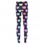 Black Rainbow Cartoon Cats Yoga Fitness Leggings Tights Pants