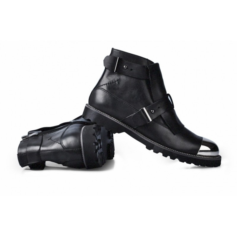 b30bdc6a831 Black Metal Cap Punk Rock Leather High Top Mens Oxfords Boots Shoes