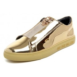 Gold Metallic Mirror Shiny Emblem Mens Sneakers Loafers Shoes