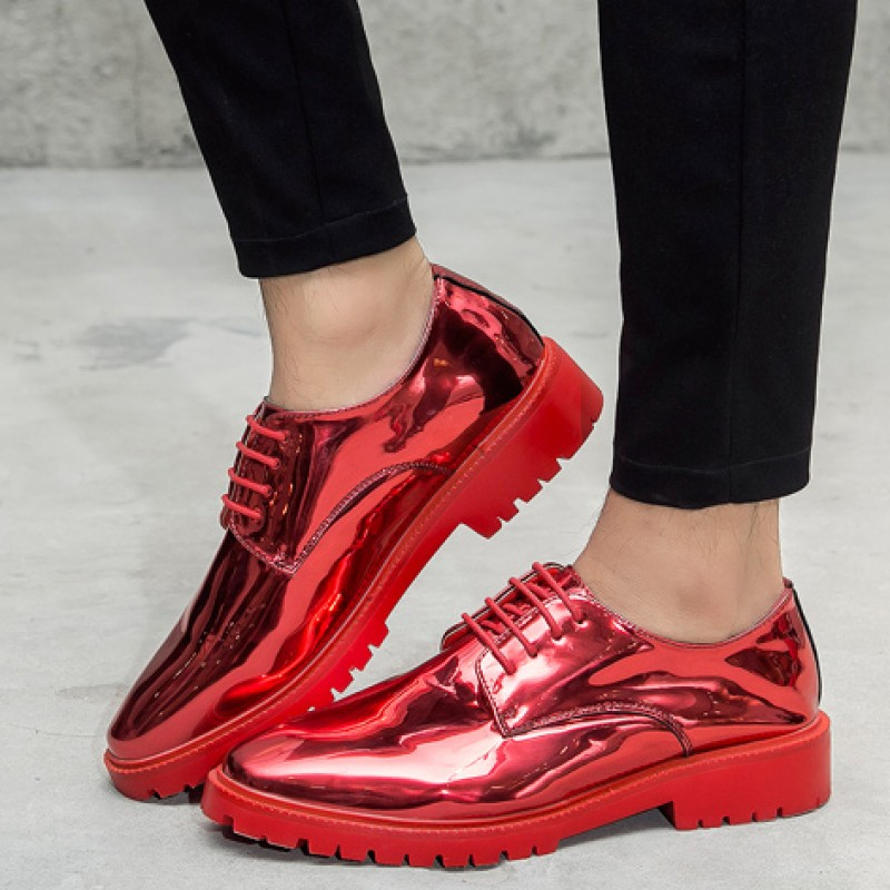 Red Metallic Patent Leather Lace Up