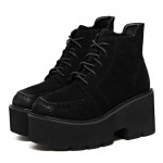 Black Suede Lace Up Chunky Block Platforms Oxfords Dress Shoes Boots