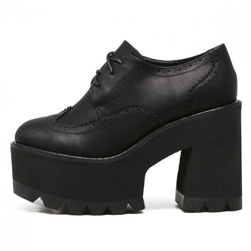 Black Lace Up Chunky Block High Heels