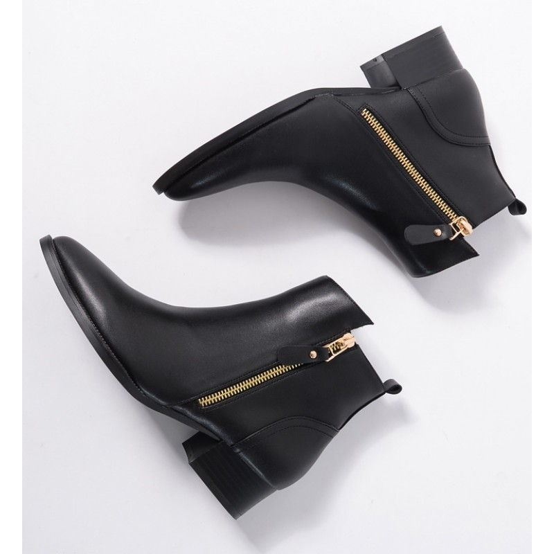Black Pointed Head Leather Gold Zipper