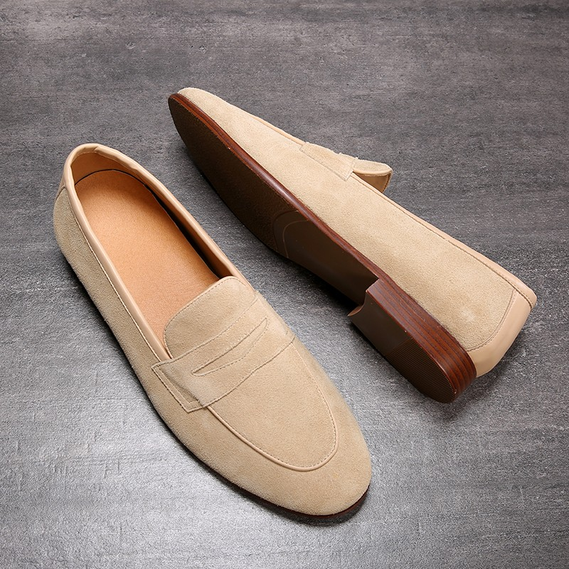 Beige Suede Mens Oxfords Flats Loafers