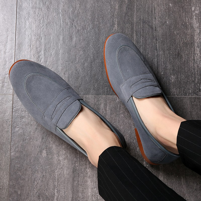 Grey Suede Mens Oxfords Flats Loafers