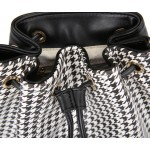 Black White Houndstooth Checkers Jewels Lipsticks Bucket Cross Body Strap Bag Purse