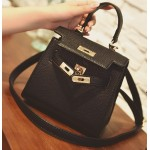 Black Gold Padlock Mini Boston Doctor Handbag Cross Body Strap Bag
