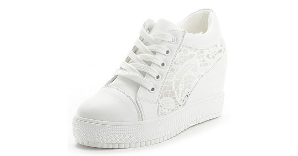 pretty cool best designer fashion White Lace Up Crochet Wedges Sneakers Shoes