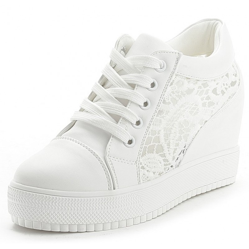 White Lace Up Crochet Wedges Sneakers Shoes