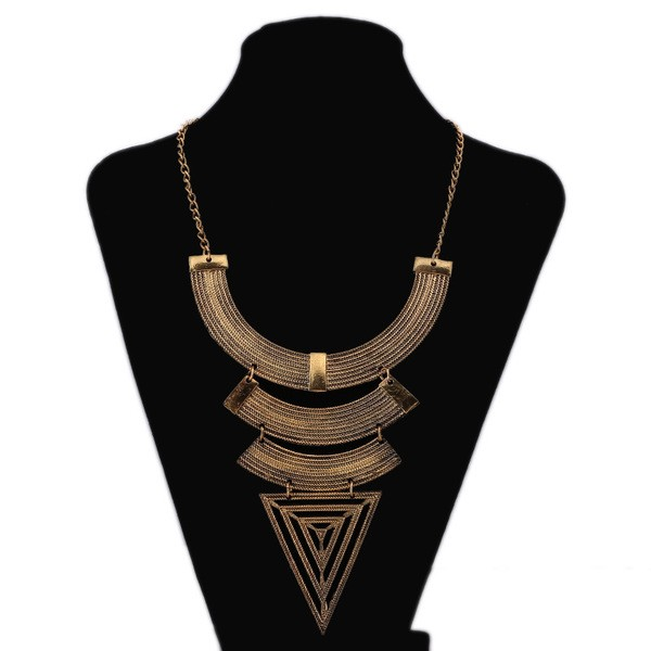 Gold Geometric Egyptian Vintage Ethnic Antique Necklace