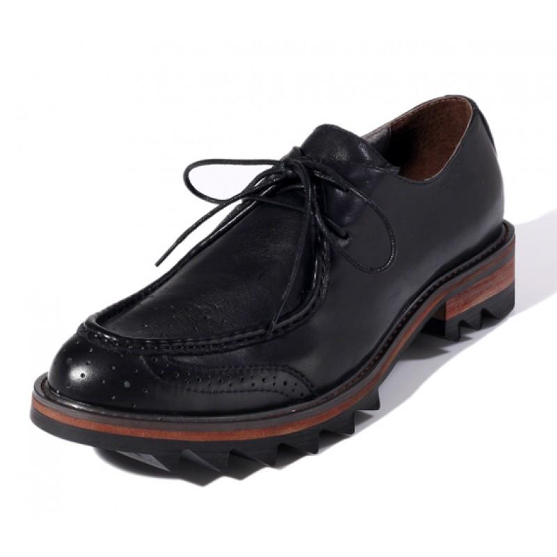 Black Leather Lace Up Platforms Mens