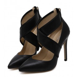 Black Cross Strap Pointed Head High Heels Stiletto Shoes