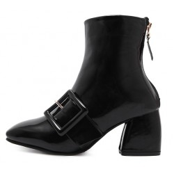 Black Patent Giant Buckle Blunt Head High Heels Boots Shoes