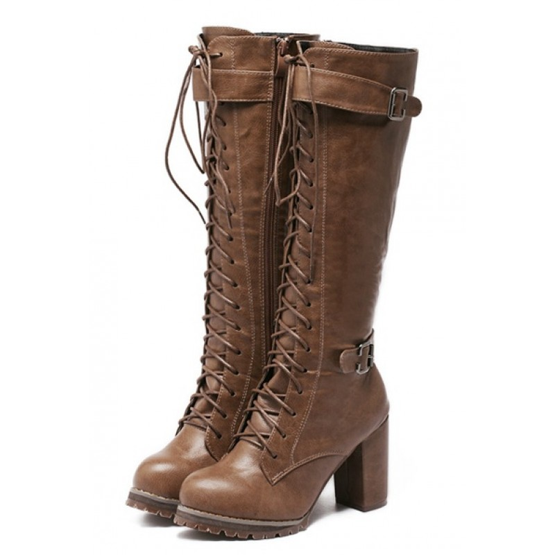 Brown Vintage Lace Up Combat Rider Long