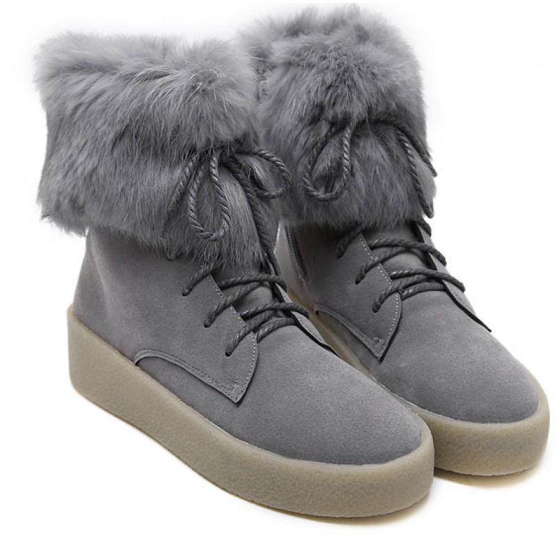 Grey Rabbit Fur Lace Up High Top