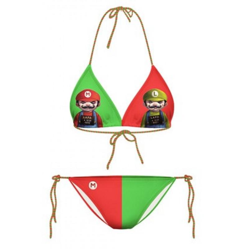 Green Red Mario Luigi Cartoon Two Piece Sexy Bikini Swimwear