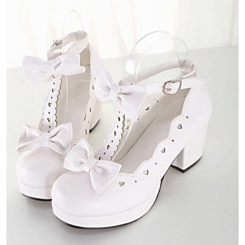 f7d08abe990e White T Strap Bow Mary Jane Round Head Lolita Platforms Mid Heels Shoes