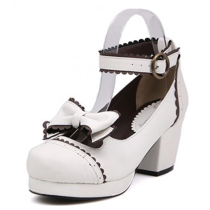 b2d85f605ec6 White Bow Mary Jane Round Head Lolita Platforms Mid Heels Shoes