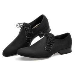 Black Double Lace Up Mens Oxfords Loafers Dress Shoes Flats