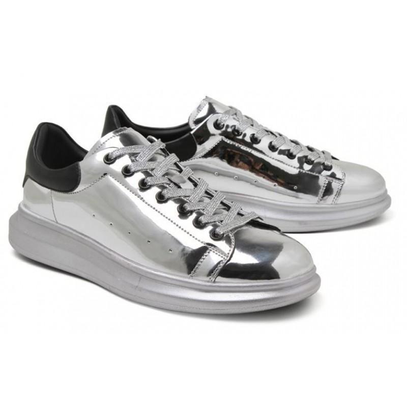 Silver Metallic Mirror Shiny Leather