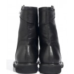 Black Diagonal Zipper High Top Round Head Sneakers Mens Boots Shoes