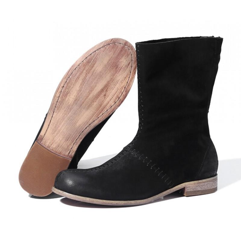 e6f1de82d40e3 Black Suede Leather Vintage Round Head Grunge Mens Boots Bootie Shoes
