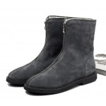Grey Suede Leather Vintage Zipper Round Head Grunge Mens Boots Bootie Shoes