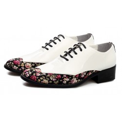 White Black Florals Patent Pointed Head Lace Up Mens Oxfords Shoes