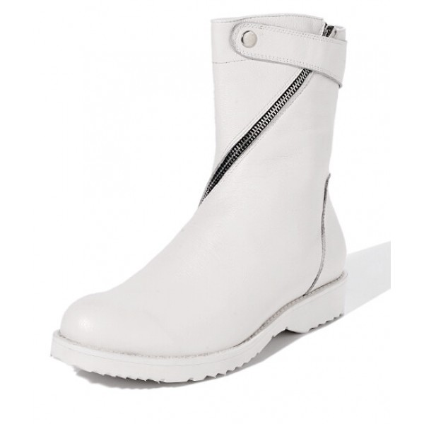 White Diagonal Zipper High Top Round Head Sneakers Mens Boots Shoes
