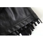 Black PU Faux Leather Tassels Fringes Bodycon Mini Skirt