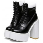 Black White Sneakers Chunky Sole Block High Heels Platforms Boots Shoes