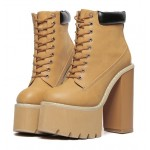 Brown Camel Khaki Lace Up Chunky Sole Block High Heels Platforms Boots Shoes